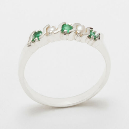 925 Sterling Silver Natural Emerald /& Pearl Womens Eternity Ring Sizes J to Z