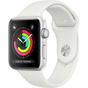 Apple-Watch-3-42mm-GPS-Aluminium-Silver-Sportarmband-Weiss-NEU-amp-OVP