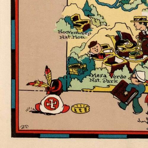 """Colorado /& USA by Ruth Taylor White circa 1933-18/"""" x 24/"""" prints Two Map Set"""