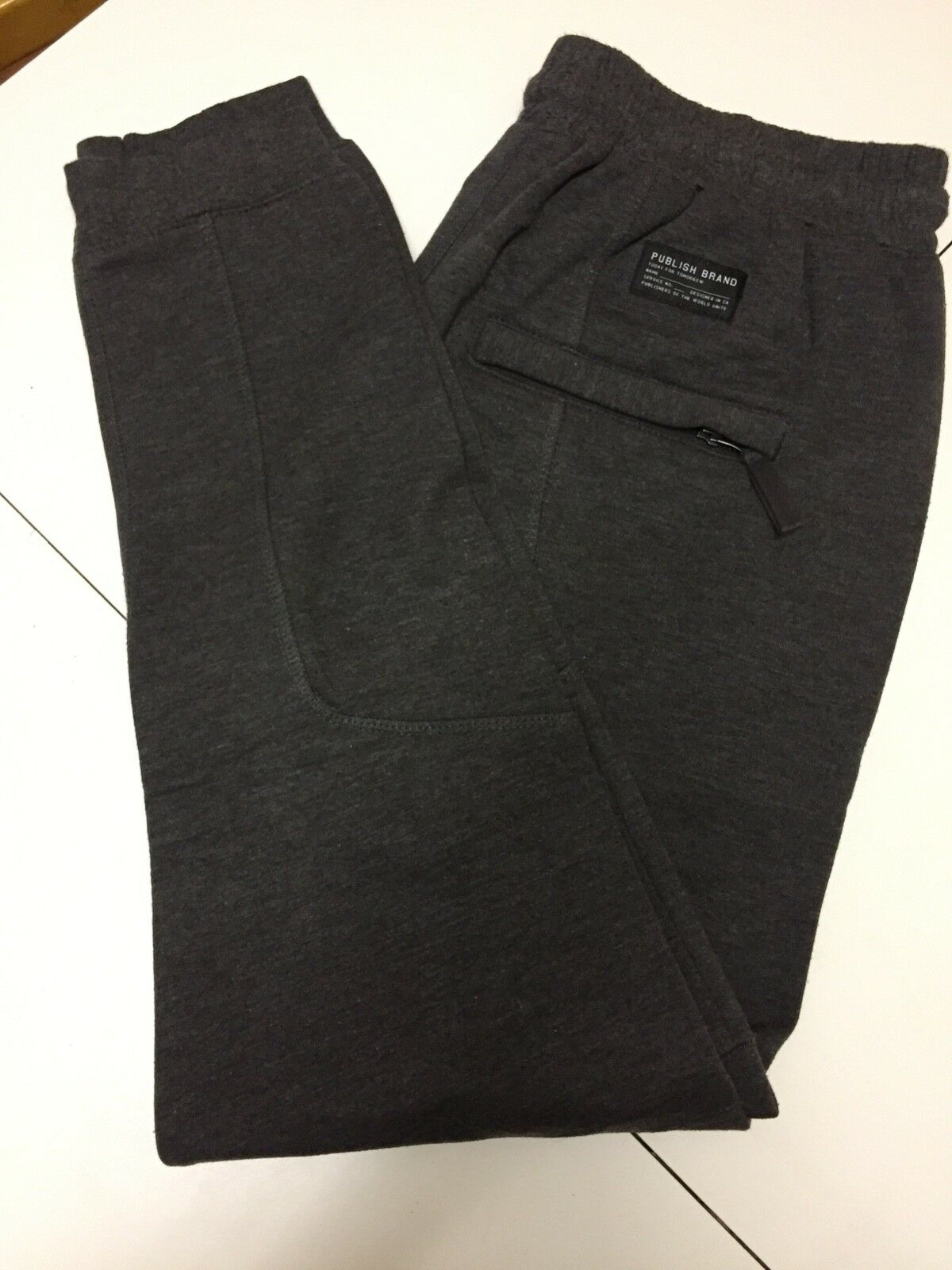 Men's Publish Joggers grey charcoal 32 fleece lined sweatpants tight like new