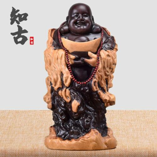 "6/"" Chinese Ebony Wood Carving Happy Laugh Maitreya Buddha Hold Yuanbao Sculpture"