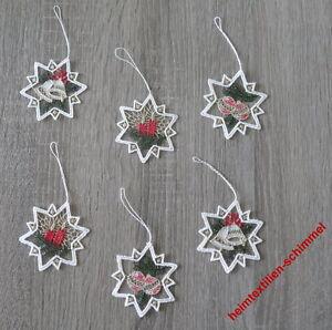 Plauen-Lace-Window-Picture-6er-Set-Tree-Hanging-Christmas-Star-Winter-Decoration