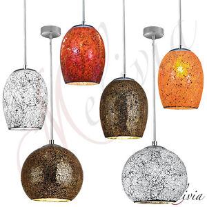 Lampara-Colgante-Mosaico-Cristal-Blanco-Rojo-Bronce-Naranja-Pendulo-Oval