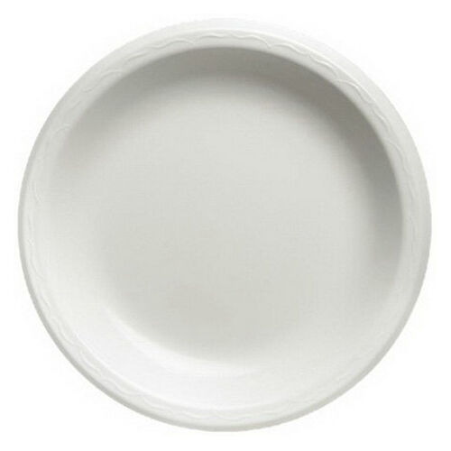 Genpak Foam Round Laminated Plate White, 9  Diameter   500 Case