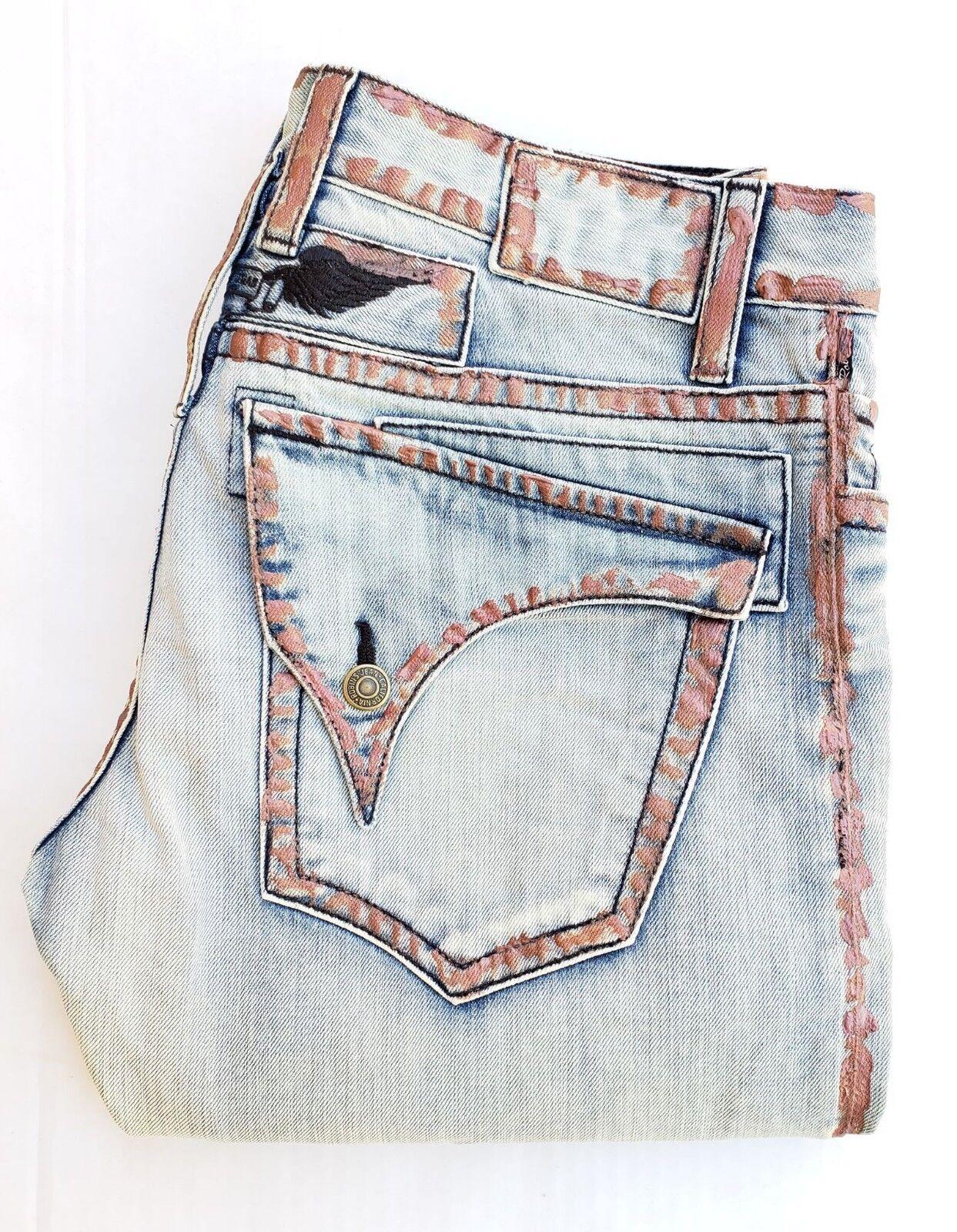 New Men's ROBIN'S JEAN sz 38 Long Flap Straight Leg Jeans- Waxed