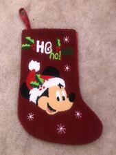 Disney Parks Mickey Mouse Christmas Green Stocking Red Santa Mickey Mouse