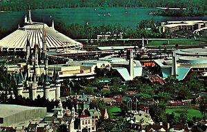 Posted Vintage1983 Postcard Walt Disney World Magic Kingdom Aerial
