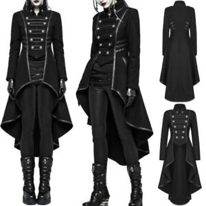 13f692d26 Women Steampunk Military Coat Vintage Gothic Victorian Tailcoat ...