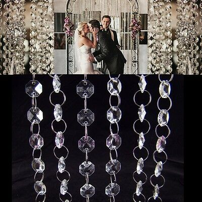 33ft/10m Wedding Venue Decoration Acrylic Crystal Beaded Strands Garland Curtain