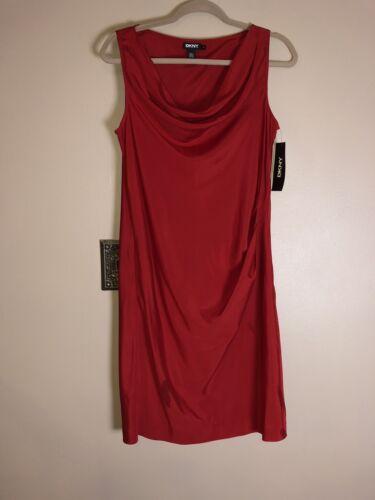 Draped Front Ny Donna Stretch Karan Red Silk Women's Bright 6 Dress Dkny Uwwp1xqO