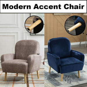 Accent-Chair-Armrest-Mid-Century-Modern-Furniture-Upholstered-Lounge-w-Wood-Legs
