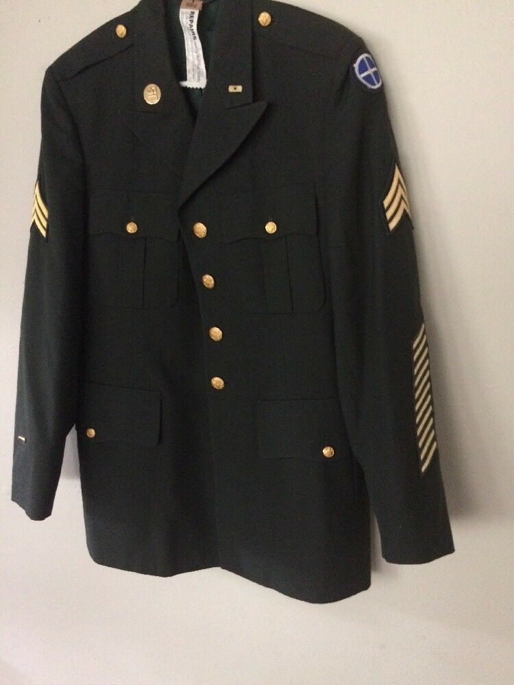 VTG US Military Army Serg  AG 489 Coat Dress Blazer  Herren Uniform Größe 41L