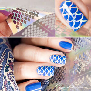 Image Is Loading 12 Tips Sheet Fish Scale Nail Art Vinyls