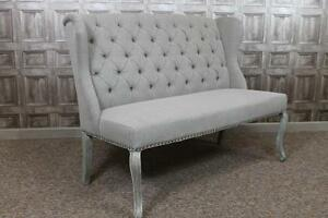 French Style Upholstered 3 Seater Bench St Emilion