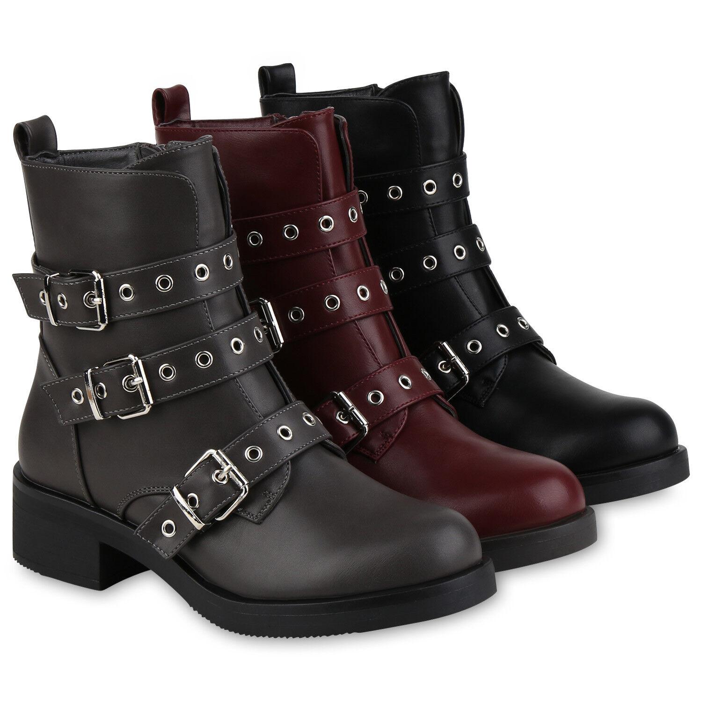 Damen Stiefeletten Biker Boots Ösen Leicht Gefütterte Stiefel 818467 Schuhe