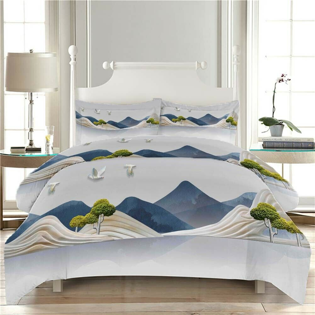 Mountains Overlap 3D Printing Duvet Quilt Doona Covers Pillow Case Bedding Sets