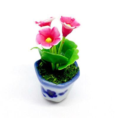 Pink Flower Handmade Clay Gloxinia Plant Dollhouse Miniature