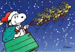 Snoopy Christmas Cards.Details About Peanuts Snoopy Santa And Woodstock Reindeer Hallmark Christmas Cards Set Of 4
