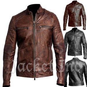 New-Men-039-s-Genuine-Lambskin-Leather-Jacket-BLACK-amp-BROWN-Slim-fit-Biker-B32