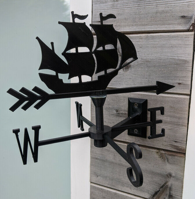 Sailing Ship (Blue Peter) Acrylic Garden Weather Vane Wall, Pole or Post Mounted
