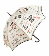 MOSCHINO UMBRELLA * I am Fashion * Beige, Black & Red Print LARGE & BNWT