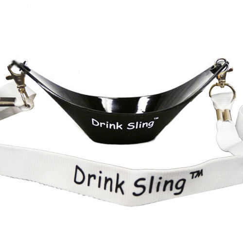 Black Hands Free Wine Glass Holder w// White Simple Lanyard x 2 sets