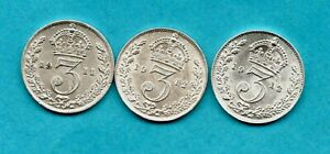 1911 1912 1913 KING GEORGE V, SILVER THREEPENCE COINS IN HIGH GRADE. 3d JOB LOT.