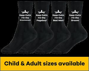 Personalised Keep Calm socks wedding groom best man cold feet usher pageboy gift