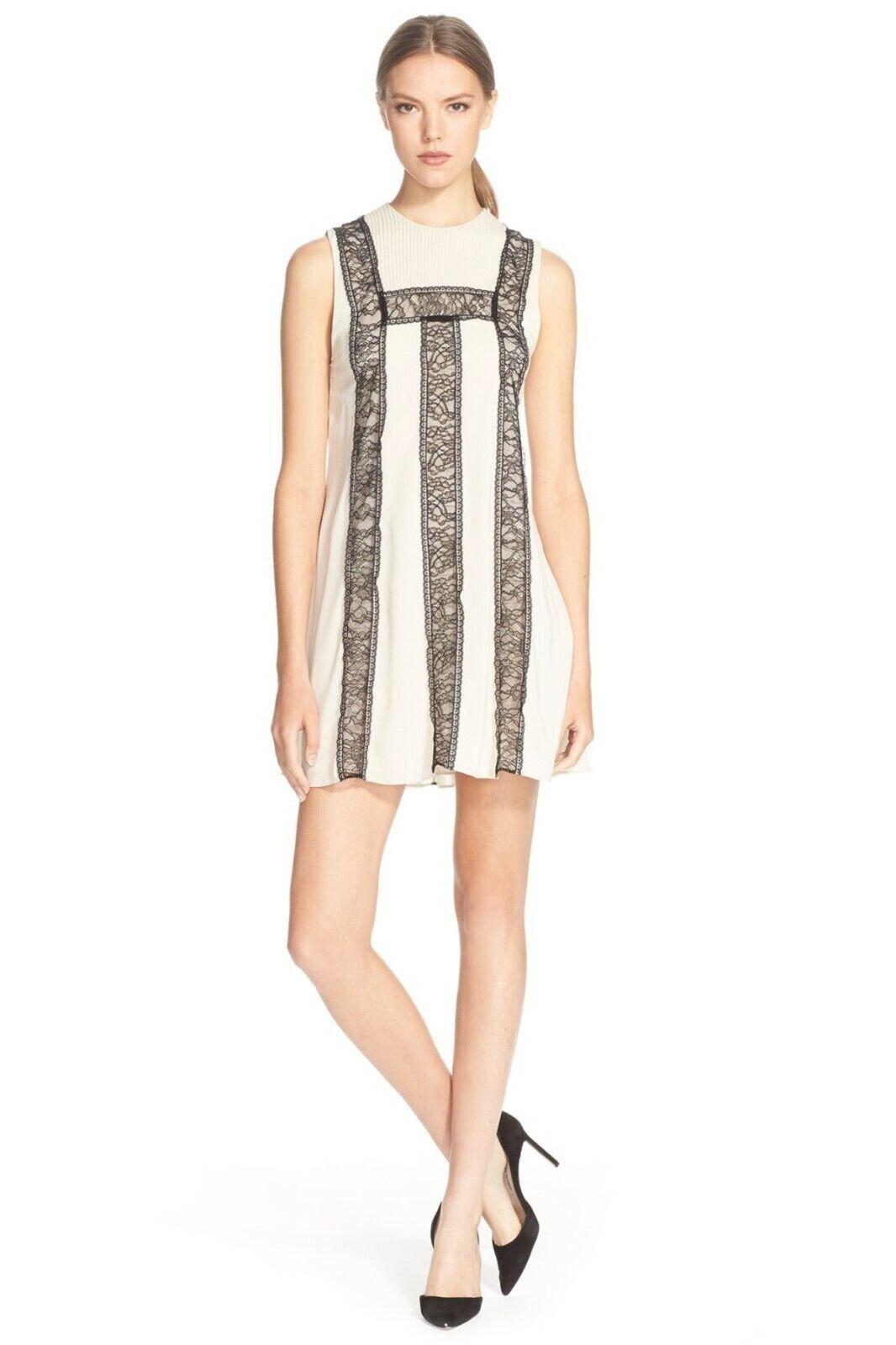 NEW Alice + Olivia Edwina Lace Accent Shift Dress in Beige - Größe 12  D2126
