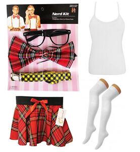 Image is loading Naughty-Adult-Ladies-Tartan-Geek-Nerd-Kit-Sexy-  sc 1 st  eBay & Naughty Adult Ladies Tartan Geek Nerd Kit Sexy School Girl Fancy ...