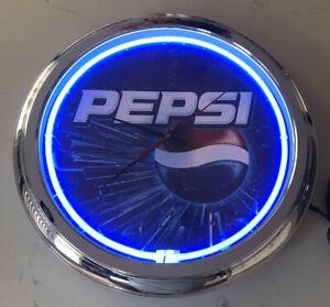 Pepsi-Neon-Wall-Clock-16-Diameter-Advertising-Rare-No-Numbers