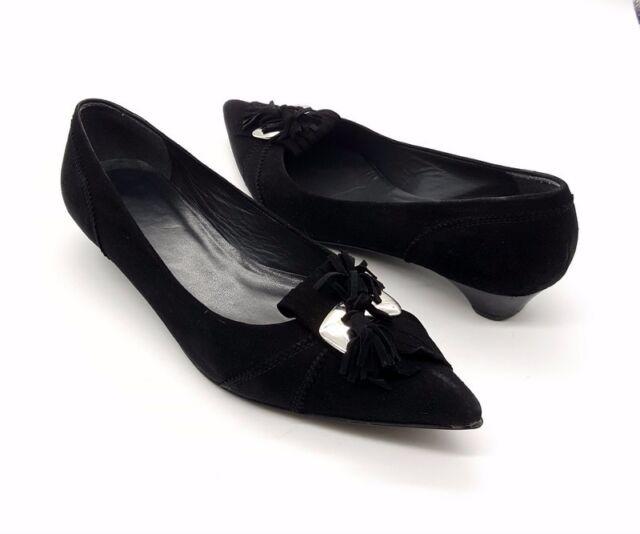 STUART WEITZMAN Size 8.5 Black Suede Pointy Toe Tassle Kitten Heel Slip On Shoes