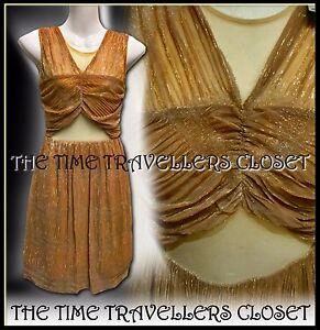 BNWT-RIVER-ISLAND-Milly-Miami-Metallic-Gold-Beige-Shimmer-Sheer-Tulle-Dress-UK12