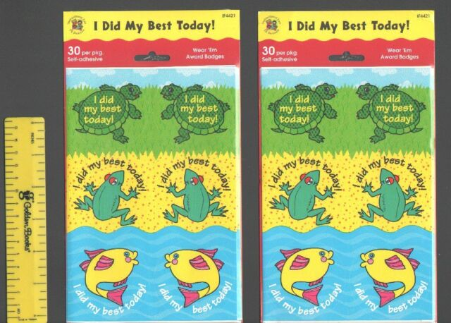 60 I DID MY BEST TODAY Reward STICKERS Badges TEACHER Supplies STUDENT  Awards