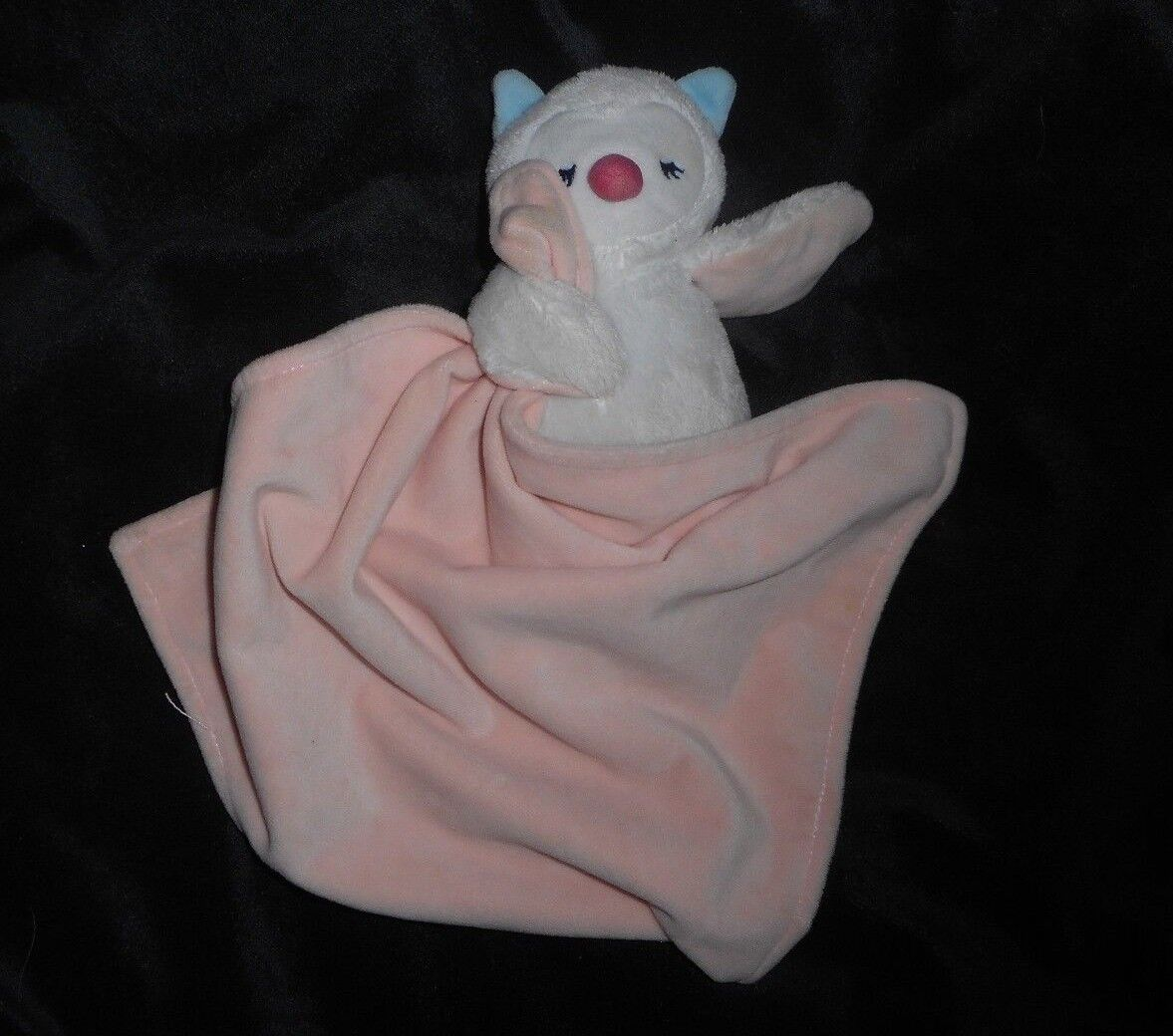 CARTER'S BABY WHITE OWL PINK PEACH SECURITY BLANKET RATTLE STUFFED ANIMAL PLUSH