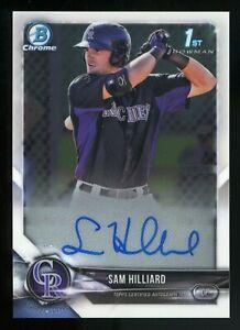 2018 Bowman Chrome Sam Hilliard RC Rookie Autograph Auto ROCKIES