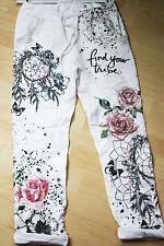 38 38/40 Coole Hose Jogging Style Baggy Blumen Schmetterlinge Nieten Pailletten