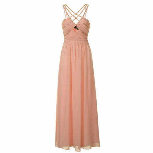 BNWT LITTLE MISTRESS NUDE PINK  MAXI DRESS WITH gold STRAPS SIZE  RRP