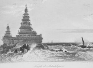 INDIA-Temple-at-Mahabalipuram-1836-Antique-Print-Engraving-W-Daniell