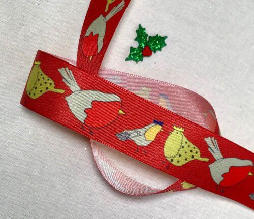"""1/"""" Noël Ruban Satin-Robin ou Arbre de Noël Imprimé-Noël Papier Cadeau"""