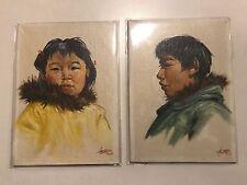 "Vintage Pair Alaska Eskimo Paintings Henne Goodale ""Athabascan"" Children"