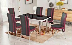 Tavolo Allungabile Sala Da Pranzo E Cucina Con Sei Sedie Design Moderno Elegante Ebay