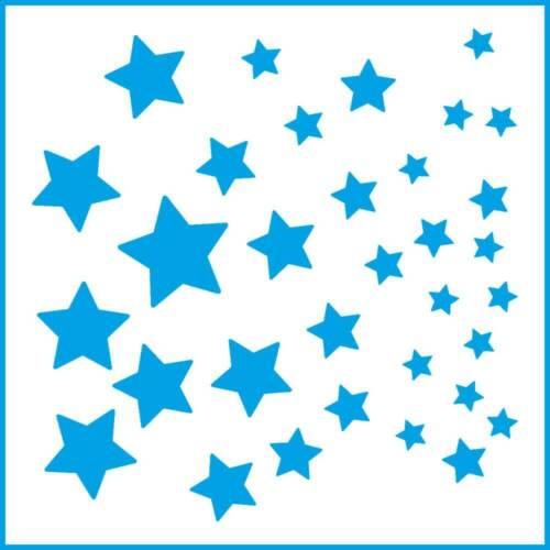 Laser Cut Diy Reusable Stencil 10x10cm Baby Shower Different Sized Stars 4x4in