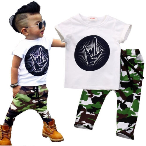 Kids Baby Boys Cotton Tops Camo Pants Leggings Outfit Toddler Clothes 2PCS Sets
