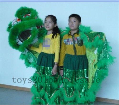 Folk Art Lion Dance Mascot Costume Pure Wool Southern Lion For Two Kids