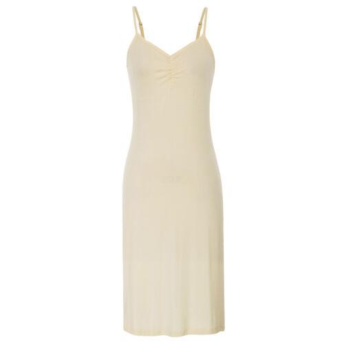 Damen Bequem Spaghettiträger V-Ausschnitt Unterkleid unter Gerade Kleid