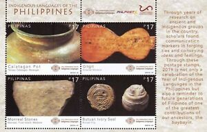 2019 Philippines Intl Year of Indigenous Languages Archeological artifact S/S NH