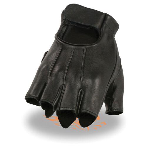 Milwaukee Leather Men's Deerskin Fingerless Gloves w// Gel Palm  **SH878 BLACK