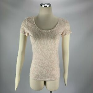 Ann-Taylor-LOFT-linen-Small-Blouse-Off-Short-Sleeve