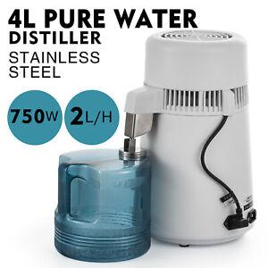 4L Water Distiller Purifier Machine Home Countertop Stainless Steel Interior